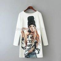 2015 hot selling basic long sleeve dress fashion women dresses 3d printing dress o-neck cotton spring dress