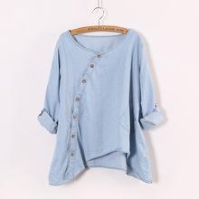 2015 New Women Shirt Denim Slant Oblique Button Irregular Plus Size Roll Up Sleeve Wash Solid Pocket Loose Casual Blouse(China (Mainland))