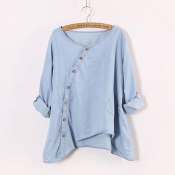 2015 новую рубашку женщин джинсовые наклонная косой кнопка нерегулярные Большой размер ...