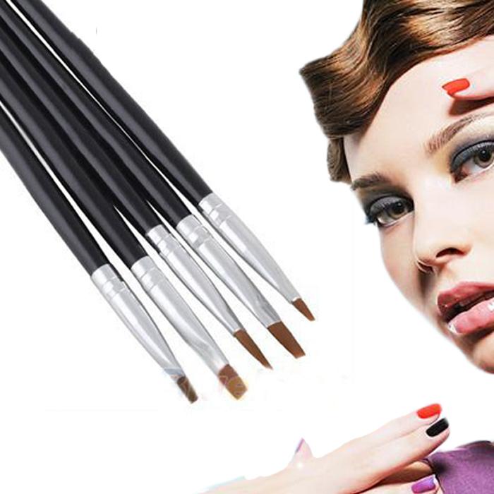 1Set/5PCS Professional Nail Art Styling Tools Acrylic Nail Art Flat Brush Set Kit Design Painting Pen Perfect Tools Free Shippin(China (Mainland))
