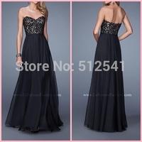 2015 Sexy A-Line Sweetheart Floor Length Black Lace Chiffon Prom Dresses Party Evening Elegant vestido de festa longo LFM 21153