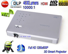 Newest DLP WiFi Electronic Zoom 3D High Brightness 4600 Lumens Home Theater LED Projector Android 4