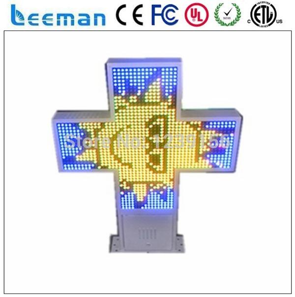 Leeman 3D LED Pharmacy cross outdoor display/IP66 waterproof/140 groups pharmacy animation/Super brghtness(China (Mainland))