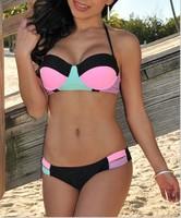 2015 New Sexy Swimwear Women bathing suit  Bikini Swimsuit bathing suit Sexy Color Block Halter Push-up  Bikini LC41024