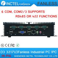 Fanless industrial computer IPC with 6 COM intel i3 3217u processor