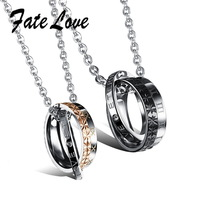 2015 Fashion Couple Necklace 316L Stainless Steel Crystal Pendant Neacklace  Valentine's Day Gift Set for His or Her 456
