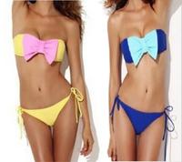New women Bow hit the color Bra Bikini Set 2015 Women Fashion Sexy Swimsuit Ladies' Swimwear Beachwear swimwear