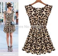 2015 Sexy Women Dress Sleeveless Pleated Round Collar Leopard Grain Casual Vestidos Dress