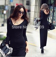 2 pcs/lot 2015 new style Free shipping women long sleeve Modal dress