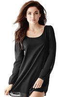 2015 Hot Spring Summer Desigual Loose Shirt Dress Long Sleeve Party Mini Dress Black Chiffon Shift Dress Casual Vestidos E21885