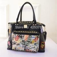 The new spring 2015 fashion female package Single shoulder bag graffiti rivet punk handbag