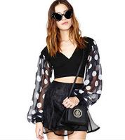 Women spring summer Blouses Big polka dot chiffon V-neck wide-sleeved patchwork knitted short design chiffon shirt