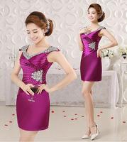 2015 new double-shoulder purpl cocktail dress banquet female slim graduation dress