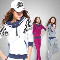 2015 New Letter Sweatshirt Sport Pullover Hoodies Tracksuits Fashion Womens Leisure Sport Suit Free Shipping