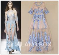2015 spring and summer fashion ruslana korshunova quality embroidered ladies elegant one-piece dress