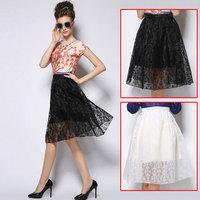 hot sales women work wear summer skirt 2015 black beige casual skirts womens high waist medium-long vintage long maxi skirt