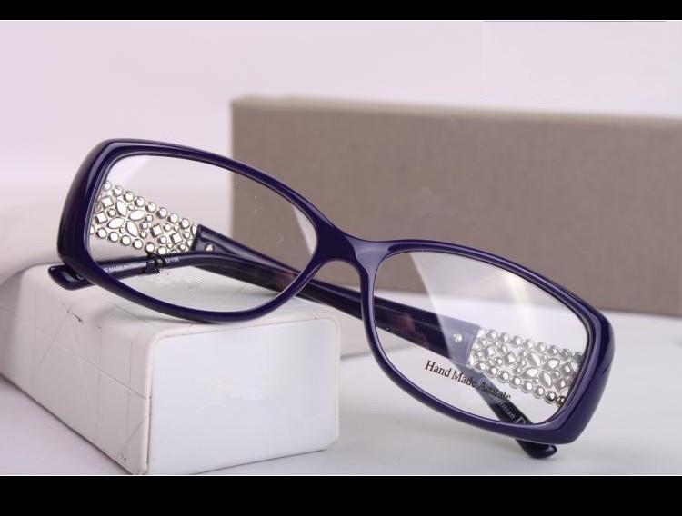 Designer Optical Glasses Frame Prescription Full Rim Spetacle Acetate Eyewear Women Diamond Decoration Eyeglasses New 3184(China (Mainland))