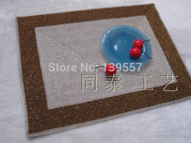 Handmade beaded western pad beaded place mat beads disc pads leuconostoc bowl pad(China (Mainland))