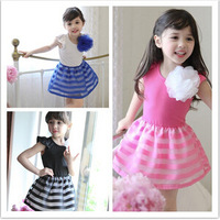 2015 New Children clothes summer kids  cotton Vest patchwork  dress baby girls casual dress 5pcs/lot