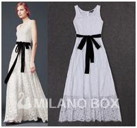 2015 summer normic noble fashion elegant velvet belt waist slim one-piece dress lace wedding dress