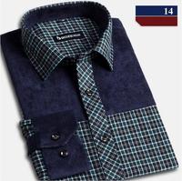 2015 Roupas Camisetas Masculinas Camisa Mens Casual Dress Social Shirt Cotton Plus Size Patchwork Full Plaid Men Shirt