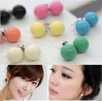 2015 Hot Sale Fashion Jewelry Earring For Women Cute Candy Stud Earrings QQ Ball Earrings 12mm  1 Pair/Lot