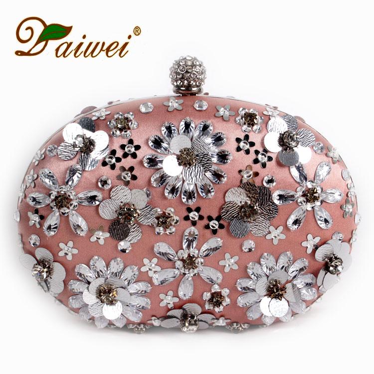 Classi warfactory beading diamond petals bag rhinestone bride bridesmaid paillette bag banquet formal dress cross-body purse(China (Mainland))