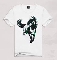 Men's creative movement short sleeve t-shirt men's ink painting horse 3D T-shirt TX-ZGF3