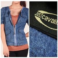 2015 summer fashion plus size clothing short-sleeve slim denim outerwear top V-neck sexy short jacket blue/diamonds