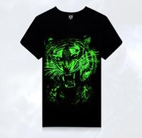 New men's short sleeved T-shirt Lycra collar luminous fluorescent green short sleeve clothes  TX-YG2