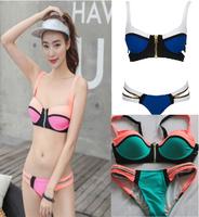 New 2015 Arrive Sexy Bikini bandage zipper Swimwears Fashion Bikini Neon Color Swimsuit Swimwear Free Ship Bikini S-L