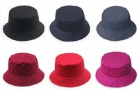 Wholesale 10pc/Lot 2015 Blank Cotton Fishing Bucket Hat For Men and Women New Plain Reversible Bucket Hats Solid Colors In Bulk