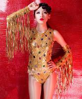 Dj ds costume dance jazz female singer costumes sexy oversleeps rhinestone bodysuit