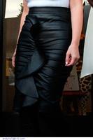 saias femininas Black Ruffles Ladies Black PVC Frill Pencil Midi Skirt  faldas LC71062