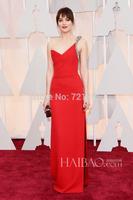 Fashion 57th Oscar Dress 2015 Free Shipping Dakota JohnsonV-neckRed Evening Gown Celebrity Dresses Custom Made Sequins Beading