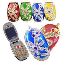 Free Shipping New Mini Ultra-small Flip Cell Phones Clamshell Fashion Rhinestone Jewelry Cute Child Female Models Dual Card N666