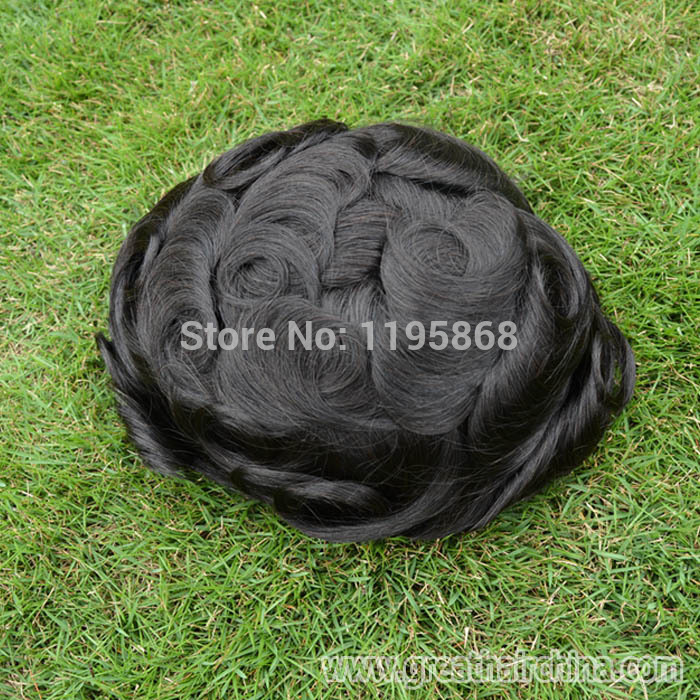 Free Shipping 100% Natural Hair Mens Hair Pieces, French Lace with Skin Back and Side Hair Replacements/ Men Custom Toupee(China (Mainland))