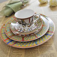 6-piece Brand H Western ceramic steak plate set home tableware free shipping