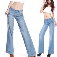 Spring Summer Vintage Casual Womens Wide Leg Loose Denim Trousers , Female Ladies Fall Blue Ripped Jeans , Jean Pants For Woman