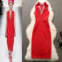 2015 New Fashion Women Celebrity Patchwork Elegant Vintage Red Tunic Business Work Bodycon Sheath Sexy Party Dress LIREN OM018
