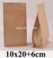 10*20+6cm Flat bottom ziplock kraft bag stand up bellow zipper kraft bag coffee tea nuts kraft paper bag,150pcs/lot
