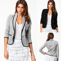 Blazer Womens Feminino New 2015 Jackets Suit two Button Slim black and grey Ladies Blazers Work Wear jacket coat Blaser S-XXL