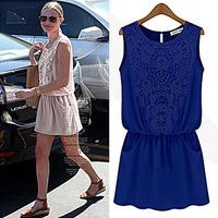 Summer Women's Lace Sleeveless Patchwork Dress New 2015 Chiffon Dresses Women Clothing Plus Size S-XL apricot/ blue