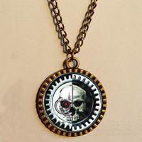 Wholesale 6$  Warhammer  40k Adeptus Mechanicus Necklace Space Marine Art Glass Pendant   Fashion Jewelry Chain Gift Vintage lot