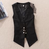 Free Shipping ! New 2015 Woman British Style Epaulet Decorative Slim Suit Vest