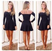 2015 Autumn European and American new transparent black lace mesh stitching Long Sleeve Sexy Party Mini Dress slim mesh Vestidos