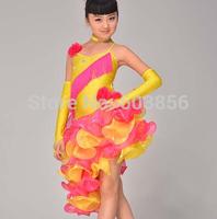 Latin Dance Dress Women Girls 110-170cm Latin Fringe Dress Ballroom Dance Costume Dancing Clothing regata feminina yellow+ rose