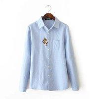 Women Oxford cotton Shirt High quality ladies shirt Cat embroidery Shirt Cute blouse Female Shirt formal Shirt new 2015 hot sale