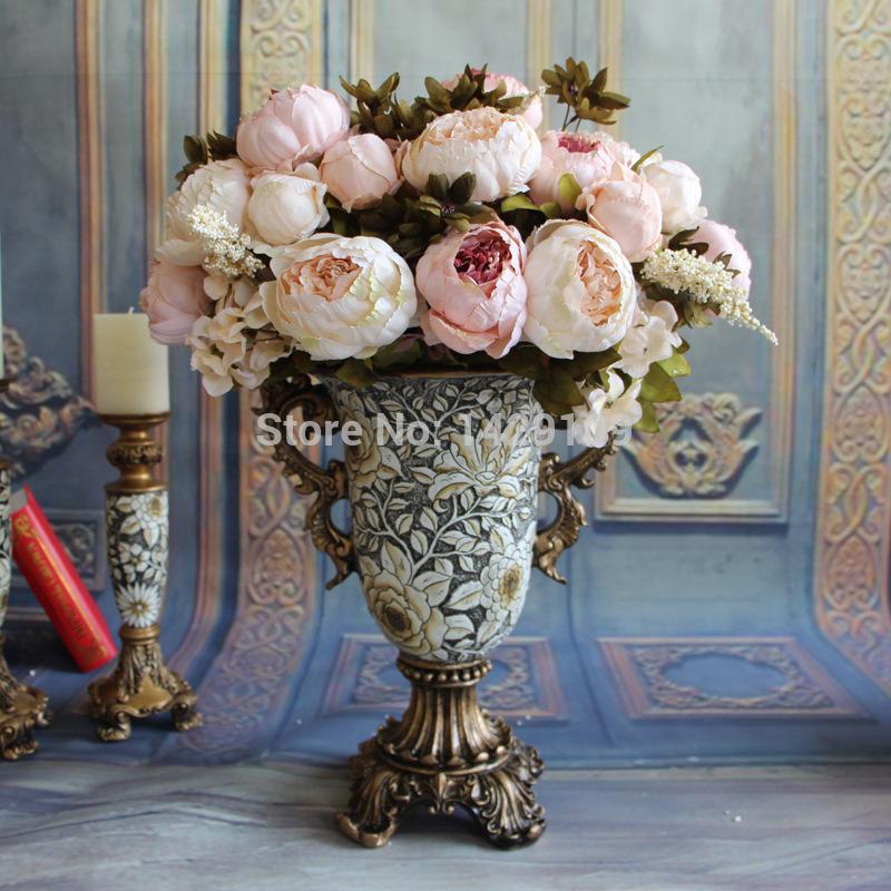 4 Bunch Continental Handmade Flower Artificial Flowers Peony Home Decorative Flowers DIY Bouquet(China (Mainland))