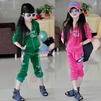 2015 Spring Children's Clothing Set Cartoon Girls Clothing Sets Kids Velvet Children Hoodies+Pants 2 pieces set